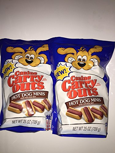 Canine Carry Outs Beef Hot Dog Minis Flavor Dog Snacks 25 Ounce (2 Pack)