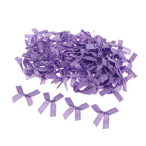 100 Pieces Mini Satin Ribbon Bows Gift DIY Craft Wedding Decoration Ornament | Color - Light Purple ()