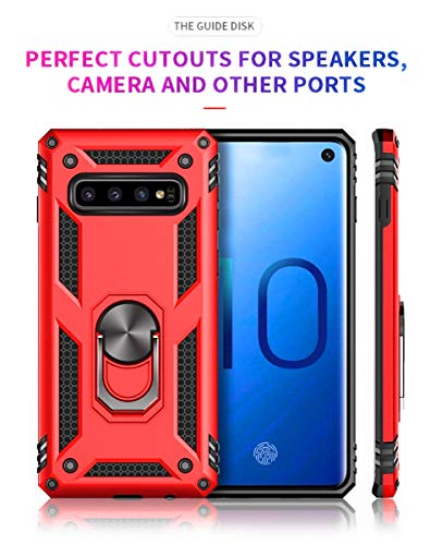 - Samsung Galaxy S10 Soft TPU Red Cover Case with Magnetic 2 in 1 Hard Armour case Fashion Ring Stand Cover Full-Body Protection Soft Flexible