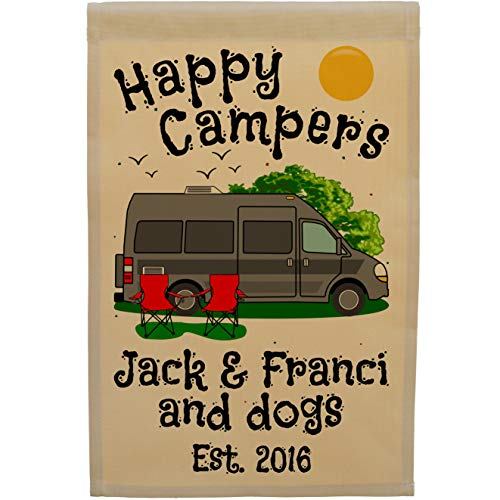 Happy Campers Personalized Class B Motor Home Campsite Flag, Customize Your Way, Tan (Dark Gray)