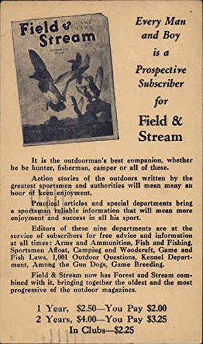 Vintage Advertising Postcard: Advertisement for Field & Stream Magazine Advertising