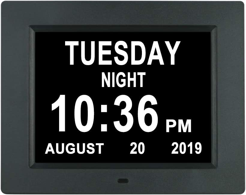 [Auto-Diming Options] Digital Day Calendar Clock Non-Abbreviations Day and Date 8 Alarm Options Battery Backup Dementia Alzheimer Impaired Vision Memory Loss Clocks for Senior Elderly