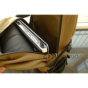 New Fashion arcuate shoulder strap zipper solid casual bag male backpack school bag canvas bag designer backpacks for men (Dark Green Color)