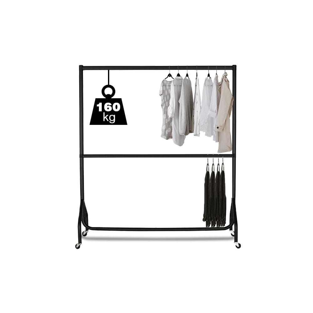Displaysense 2 Tier 6ft Extendable Black Heavy Duty Clothes Rail
