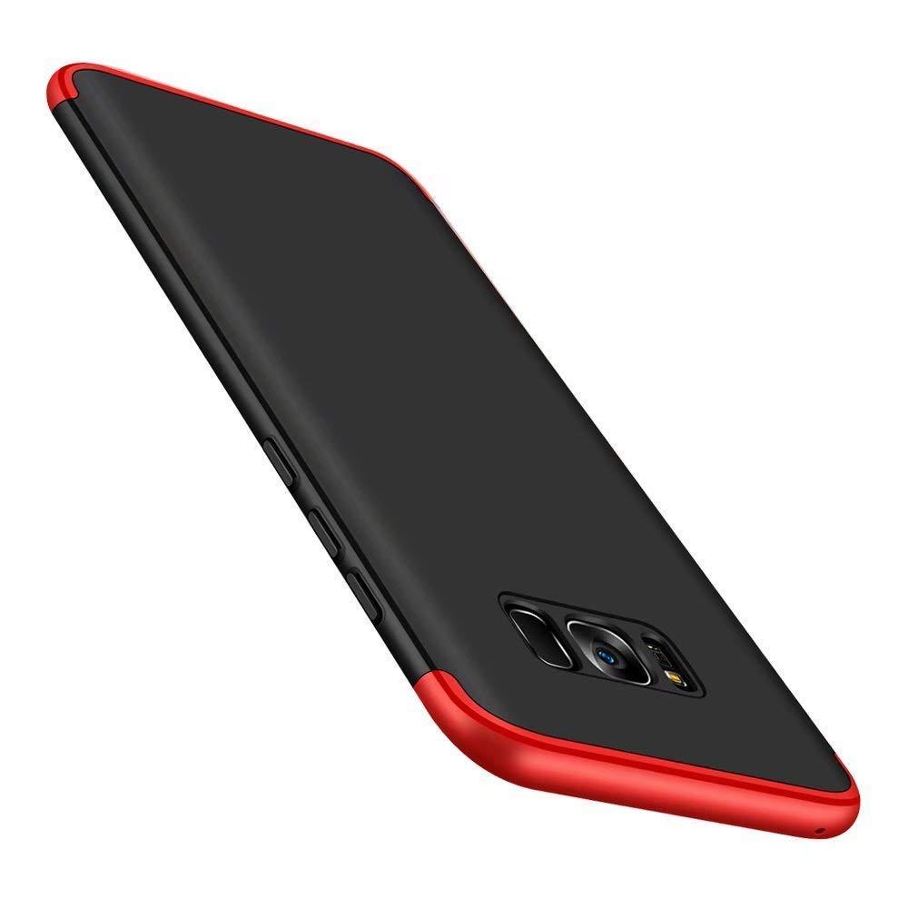 HD Vidrio Templado Carcasa Case,Ultra Fina 3 en 1 Hard PC Caja Cover Resistente al Desgaste-Oro Negro con 2 AKC Funda Compatible Samsung Galaxy S8 con 360/°Todo Incluido Anti-Scratch