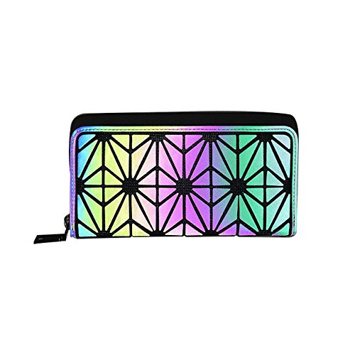 Olyphy Designer Wallet For Women Geometric Luminous Purse Long Lattice Womens Clutch With Zipper from Olyphy