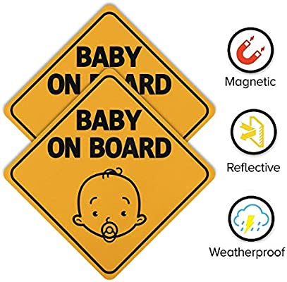 Baby on Board Sign for Car Twin Pack 2pcs Kids Safety Warning Car Sign Baby Giraffe Design