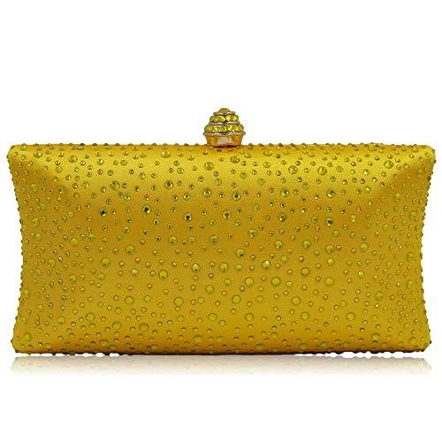 Bags PU Party Women Leather Yellow Bag with Handbag Bag Evening Rhinestone Decoration Clutch Shoulder qSp47w4