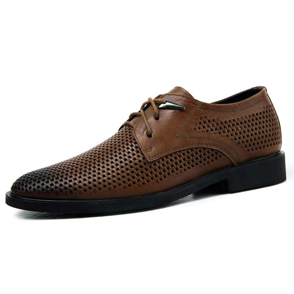 Light Brown DOLDT1 Men's Business Oxfords Breathable Loafers Perforated shoes Lace Up Round Toe Open Toe and Ankle Strap Buckle Flat Sandals
