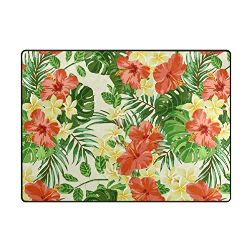 ABLINK Non-slip Area Rugs Home Decor, Vintage Tropical Hawaiian Plumeria and Hibiscus Flowers Durable Floor Mat Living Room Bedroom Carpets Doormats 80 x 58 inches (Durable Tropical Rug)