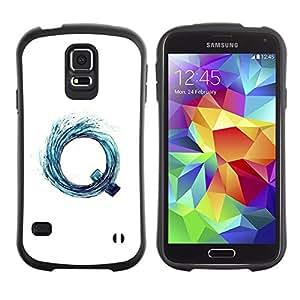 Paccase / Suave TPU GEL Caso Carcasa de Protección Funda para - Q Letter Vortex Aqua Water Surf White - Samsung Galaxy S5 SM-G900