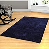 eLuxurySupply Indoor Area Rug/Mat | Hand Woven Shag Area Rug | Solid Design | Ideal for any | 5′ x 8′ – Navy Blue Review