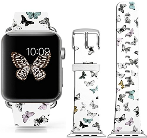 Iwatch Bands 38Mm,38Mm Genuine Leather Strap Wrist Band Replacement W Silver Metal Clasp for Apple Watch All Models 38Mm - Beautiful Colorful Butterflies Girly Design