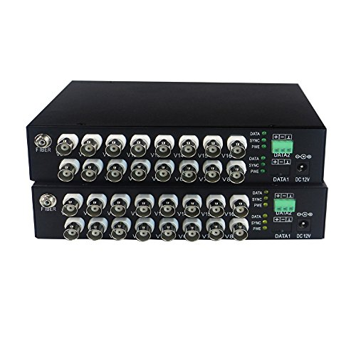Guantai HD 970P/720P 16 channels Video Fiber Optical Media Converters (Transmitter and Receiver) with Data for HD CCTV 960p 720p CVI TVI AHD Cameras by Guantai