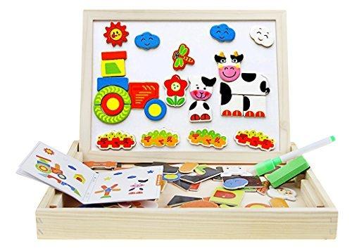 木製キッズおもちゃマグネットボードパズルゲーム旅行イーゼルDry Erase Board Jigsaw図面Sketchpad Writing黒板教育玩具