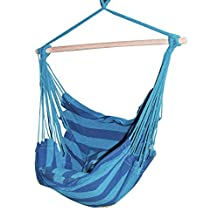 """Adeco Naval-Style Cotton Fabric Canvas Hammock Tree Hanging Suspended Outdoor Indoor Chair Royal Blue Color, 17"""" Wide Seat"""