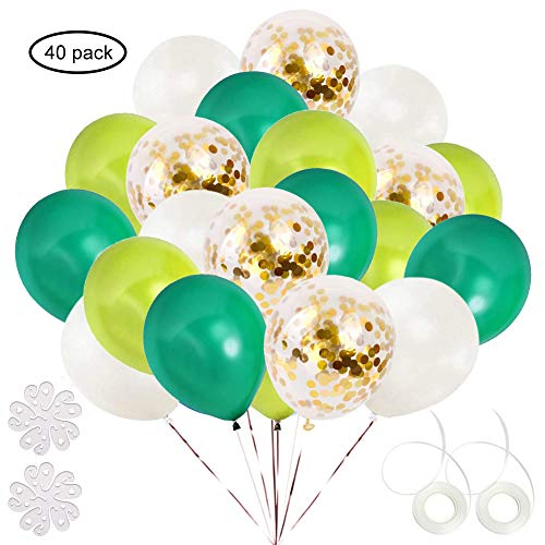 ETLEE Green and Gold Confetti Balloons Set, 40 Pack 12 Inch Latex Balloon for Birthday Wedding Engagement Baby Shower Bridal Shower Party Decorations Supplies