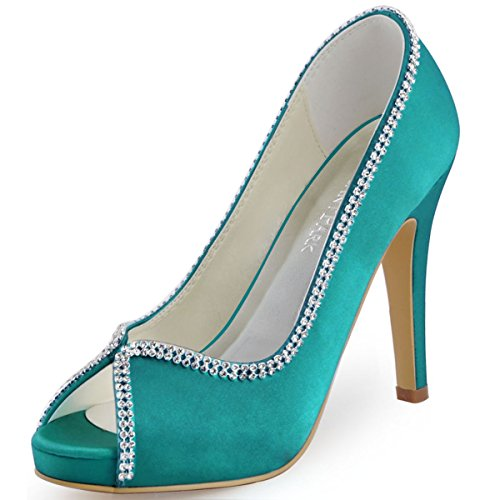 Toe Rhinestones IP Pumps Peep Court EP11083 Bridal ElegantPark Heels Satin Teal Shoes High Women Party nwgAx0XqT