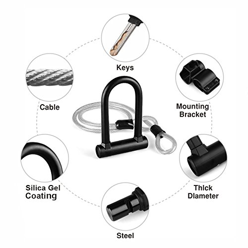 TanYoo Bike Lock Silica Gel Coating - 14mm Heavy Duty Bicycle Lock 45'' Steel Flex Cable 3 Keys + Mounting Bracket - Durable Anti-Theft by TanYoo (Image #1)