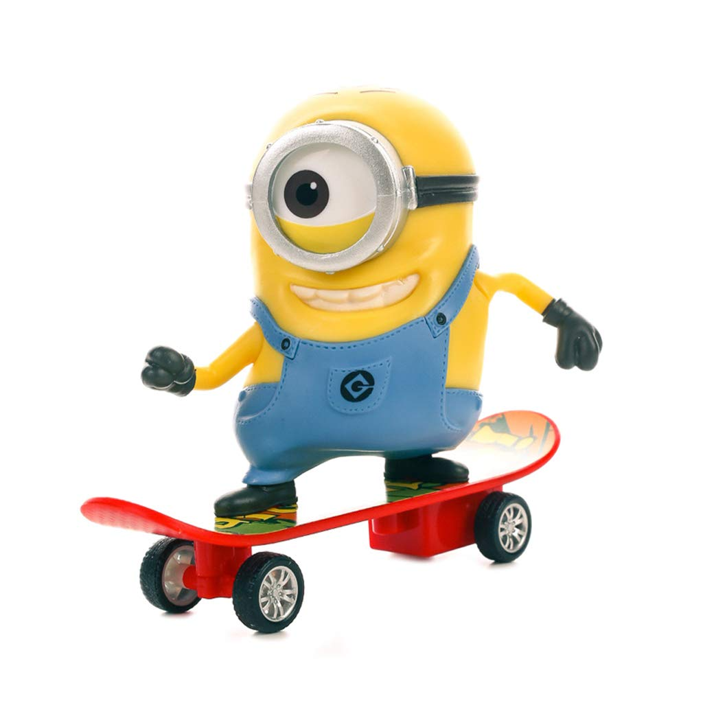 WJP Cute Little Yellow Man Toy Scooter Back to Force Ornaments Car Crafts High Imitation Model Ornament 12x10x5cm