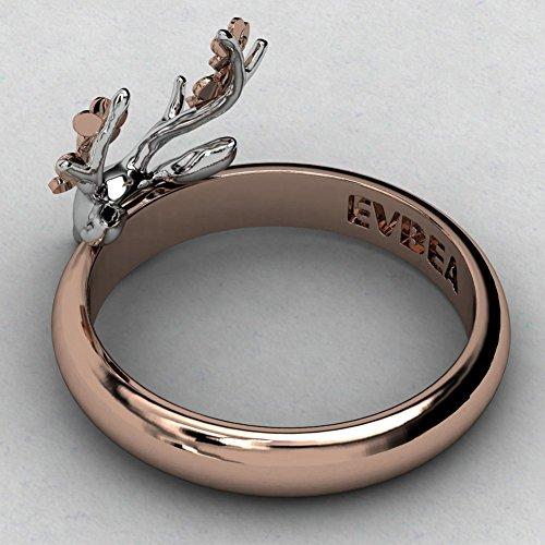 EVBEA Metal Reindeer Charms Skull Ring Vintage Cool Engraved Roe Antler Animal Rings for Men and Women ASNsXlbpX