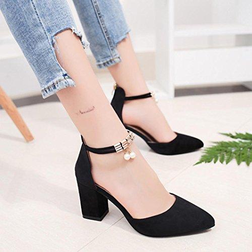 High Heels Wedge Sandals Office Shoes Pointed Toe Rhinestone Wedding Sandals Hemlock (US:8, Black)