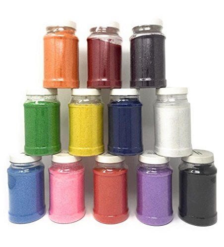Craft Sand Art Assortment, 12 Huge Hard Plastic Bottles, Non-Toxic! Arts & Crafts Accessory for Kids 12 Colors, Nice Decoration, 22 Oz. by 4E's ()