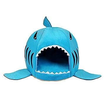 LvRao 2 in 1 cama para animales domésticos con forma de tiburón. Caseta para perros y gatos, plegable. Cálido cojín: Amazon.es: Hogar
