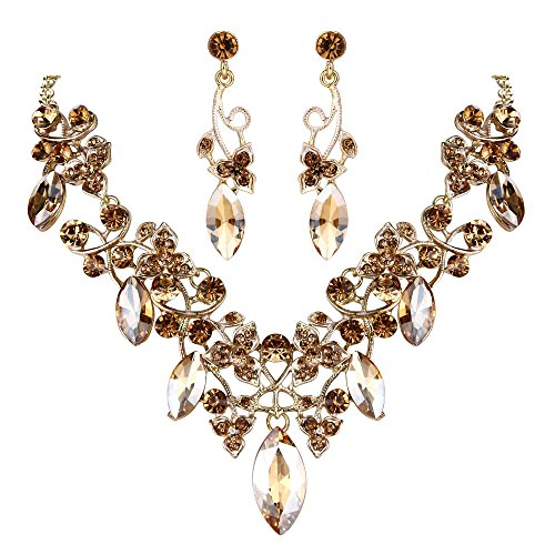 BriLove Costume Fashion Necklace Earrings Jewelry Set for Women Crystal Floral Vine Leaf Statement Necklace Dangle Earrings Set Champagne Gold-Toned