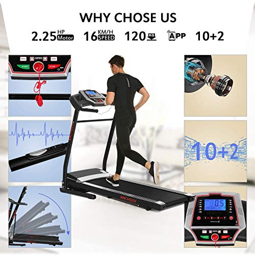 Miageek Fitness Folding Electric Jogging Treadmills with Smartphone APP Control, Walking Running Exercise Machine Incline Trainer Equipment Easy Assembly (2.25 HP - APP Control - Black) by Miageek (Image #6)