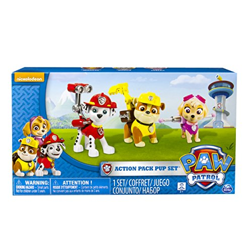 Paw Patrol Action Pack Pups 3pk Figure Set Marshal, Skye, Rubble ()