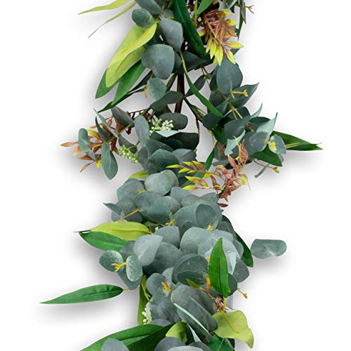 Country House Blooms Thick Seeded Eucalyptus Garland Artificial Greenery for Wedding Decorations - 5 Foot Long Mixed Foliage for Indoor and Outdoor ()