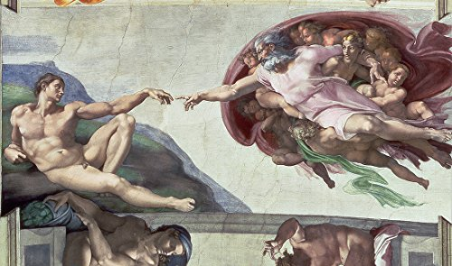 Quality Printing Creation of Adam Sistine Chapel Ceiling Canvas Print by Michelangelo Framed Wall Art Picture Ready to Hang Stretched Home Decor Framed Reproduction (40 x 23 cm) (Sistine Chapel Adam)