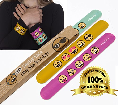 Emoji Slap Bracelets - Smiley Emoticon Silicone Wristbands - Durable - Soft, Thick, Slap Wrap Fun Sensory Toys - In Great Colors - Stainless Steel Core