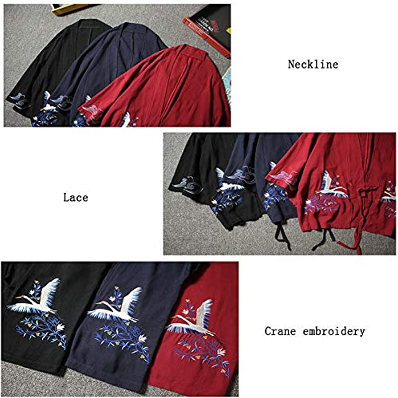 Haori Jacke, Męskie Kimono Cardigan Jacke Japanischer Stil Yukata Sieben Ärmel Offener Frontmantel Reguläre Passform - Stickerei,Navyblue-L: Küche & Haushalt