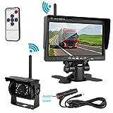 ZSMJ Wireless Backup camera Rear view Camera System 7'' Display TFT Monitor Wireless Distance over 82 ft IP68 waterproof Night Vision for /Truck /Pickup /Van /Caravan /Trailers /Camper