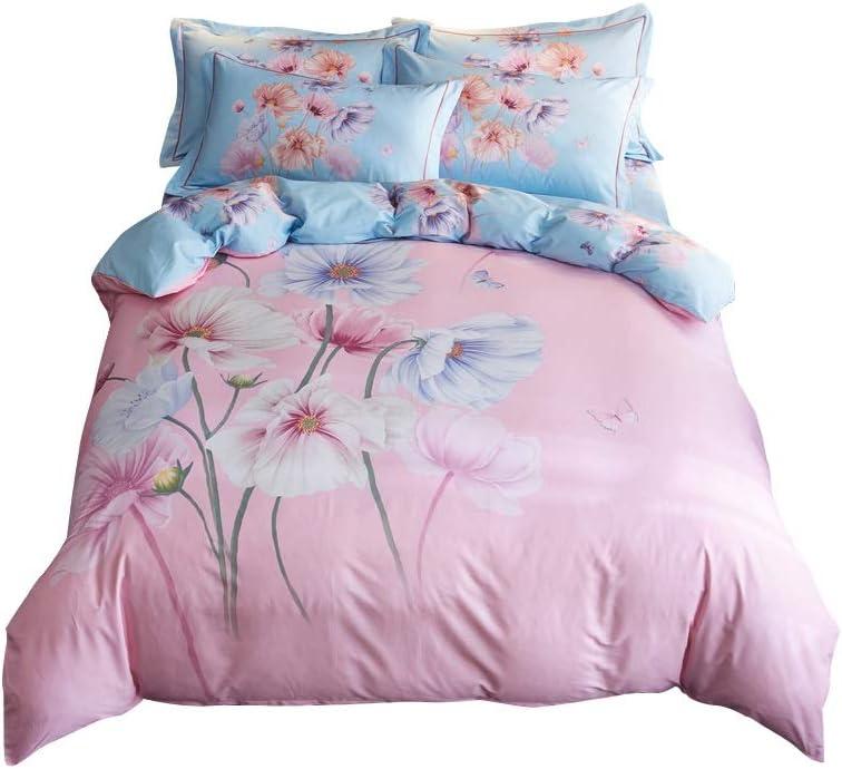 ウォッシュドコットン布団カバーセット寝具糸染め4ピース通気性と軽量キングサイズブルー/繊細な花柄寝具セット/ソフトと通気性/フルサイズのベッドシーツ (サイズ : Large)  Large