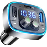 LIHAN Bluetooth FM Transmitter for Car,7 Color LED Backlit Car Adapter, QC3.0 & USB-PD Ports Charger, Wireless Radio Audio Pl