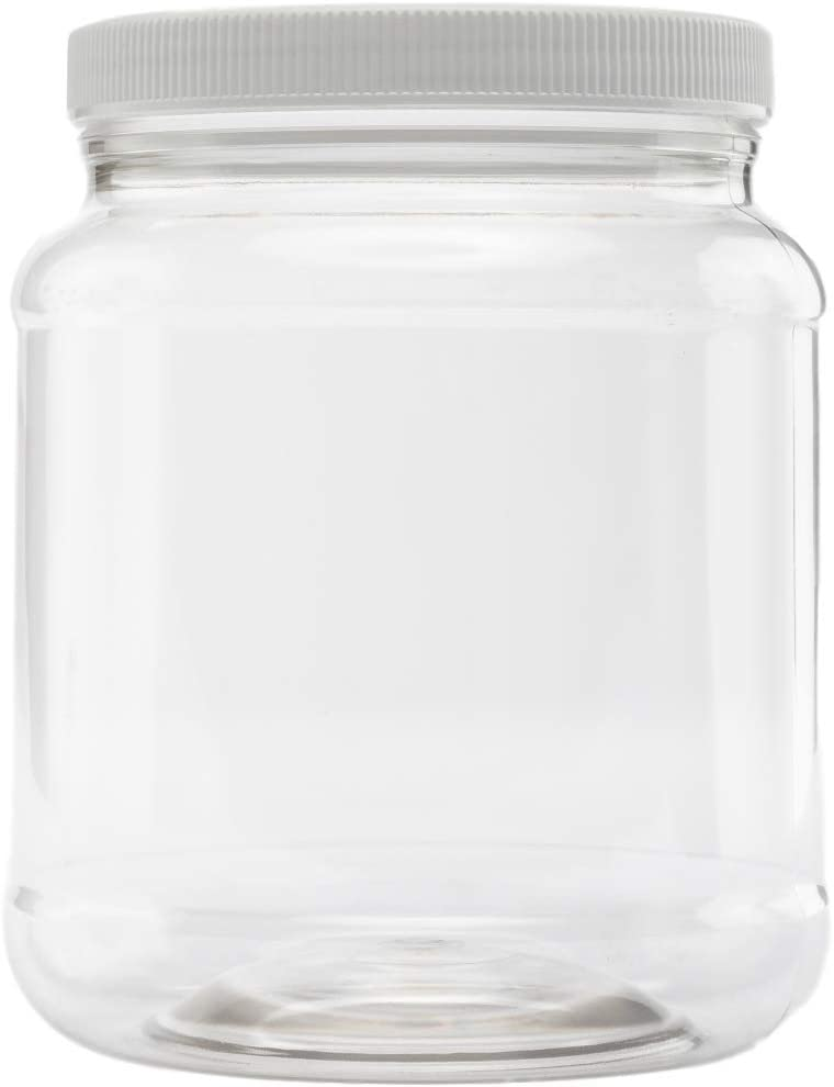 Clearview Containers  (Single) 5 LB / 80 oz Plastic Storage Container w/Lid   Kitchen Canister   Food Storage Jar  Airtight Pantry Container   Flour, Oats, Peanut Butter, Honey, Jams   Set of 1