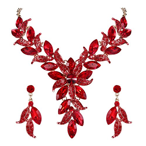 (BriLove Wedding Bridal Necklace Earrings Jewelry Set for Women Crystal Enamel Marquise-Shape Leaf Flower Statement Necklace Dangle Earrings Set Ruby Color Gold-Toned)