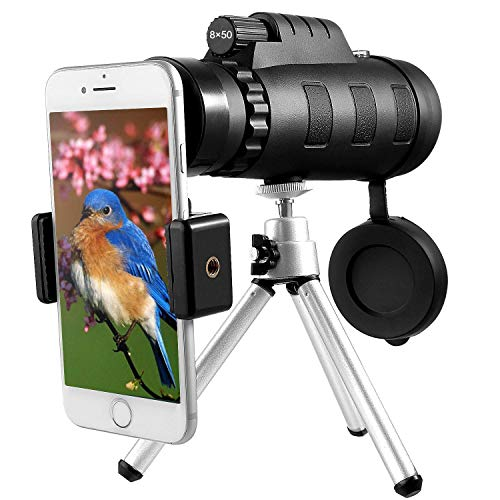 Monocular Telescope, Esolom 8X50 High Power HD Monocular with Smartphone Holder & Tripod -Waterproof Monocular with Durable and Clear FMC BAK4 Prism Dual Focus for Bird Watching, Camping (Best Water Resistant Smartphone 2019)