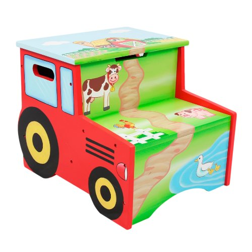 812401014827 - Fantasy Fields - Happy Farm Animals Thematic Kids Wooden Step Stool with Storage | Imagination Inspiring Hand Crafted & Hand Painted Details | Non-Toxic, Lead Free Water-based Paint carousel main 0