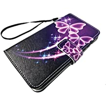 For ZTE Quest Legacy Virgin Assurance QLink N817 N-817 Wallet Credit Card Stand Pouch Case Phone Cover + Gift Stand (Wallet Purple Butterfly)