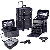 KIOTA 2 in 1 Pro Makeup Artist Case on Wheels, Multifunction Cosmetic Organizer with Removable Drawers, Beauty Trolley, Soft sided Case with PREMIUM Metal Buckles, ULTIMATE Series - Black Diamond