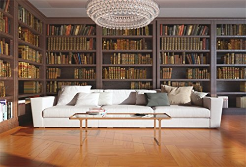 (CSFOTO 7x5ft Background for Luxurious Study with Sofa Bookshelf Photography Backdrop Bookcase Crystal Chandeliers Hardcover Success Library Boss Scholar Photo Studio Props Polyester Wallpaper )