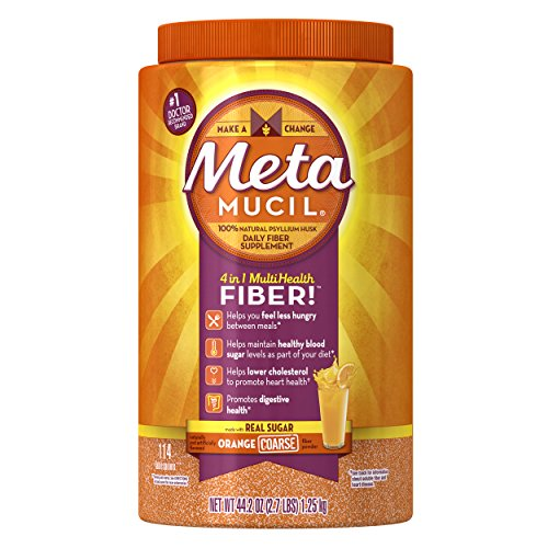 Metamucil Daily Fiber Supplement, Orange Coarse Sugar Psyllium Husk Fiber Powder, 114 Doses Coarse Powder