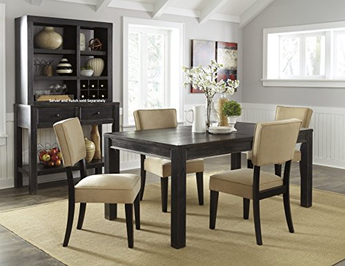 Gavellestong Vintage Casual Black Rectangular Dining Room Table w/ 4 Beige Side Chair