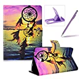 Herzzer Wallet Folio Case for Galaxy Tab A 7.0 T280,Bookstyle Flip Pu Leather Case for Galaxy Tab A 7.0 T280, Stylish Pretty Sunset Dreamcatcher Printed Stand Leather Case with Soft TPU Inner