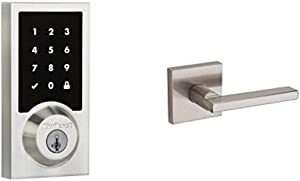 Kwikset 915 Contemporary SmartCode Touchscreen Electronic Deadbolt and Halifax Passage Lever Bundle, in Satin Nickel