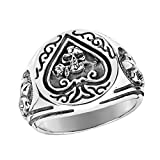 ace of spades ring - Ace of Spade Fleur De Lis Skull Rose .925 Sterling Silver Ring